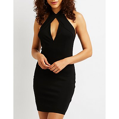 Keyhole Halter Bodycon Dress