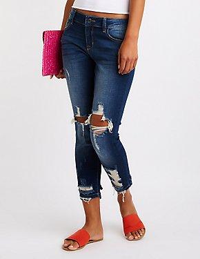 Refuge Mid Rise Distressed Skinny Jeans