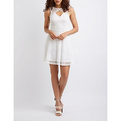 Cut Out Lace Skater Dress