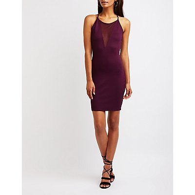 Mesh V-Neck Bodycon Dress