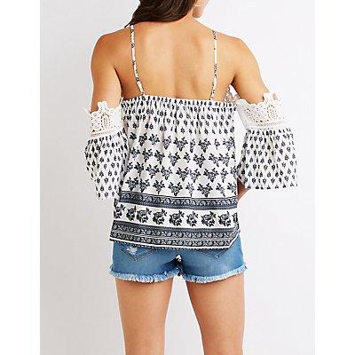 Crochet Trim Cold Shoulder Top