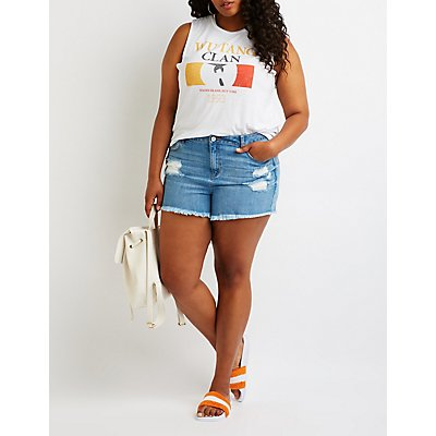 Plus Size Refuge Girlfriend Cut-Off Denim Shorts