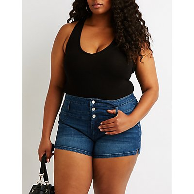 Plus Size Refuge High-Waist Shortie Shorts