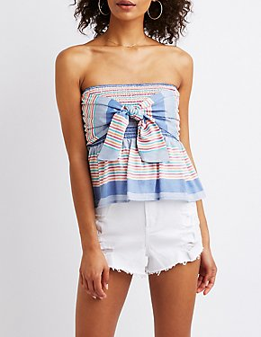 Striped Bow Smocked Crop Top