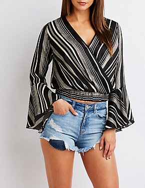 Striped Satin Wrap Top