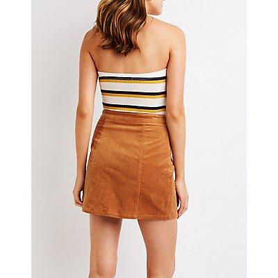 Button Up Corduroy Mini Skirt