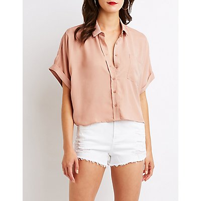 Dolman Button Up Crop Top