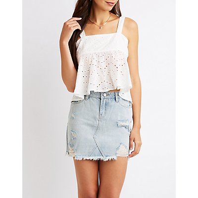 Eyelet Open Back Tank Top