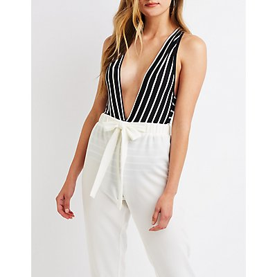 Striped Plunging Bodysuit