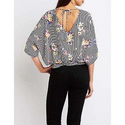 Printed Kimono Sleeve Top
