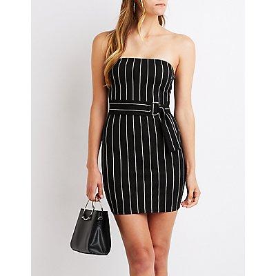 Striped Strapless Bodycon Dress