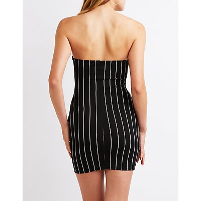 Striped Strapless Bodycon Dress