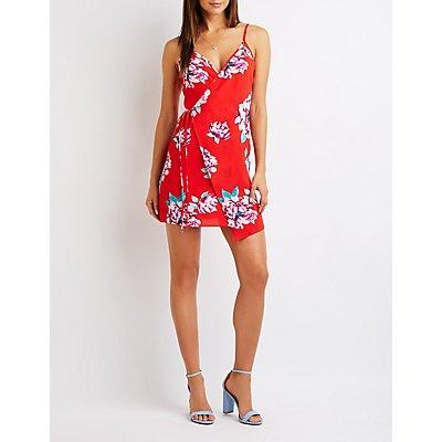 Floral Wrap Asymmetrical Dress