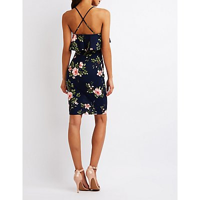Floral Ruffle Bodycon Dress