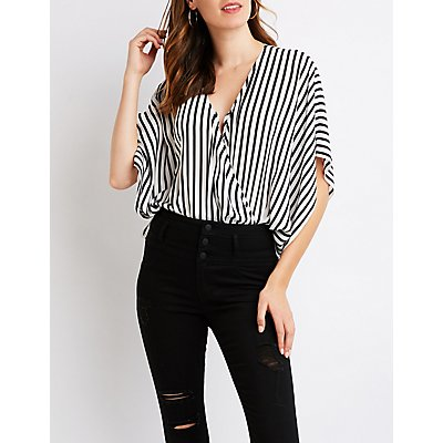 Striped Wrap Bodysuit