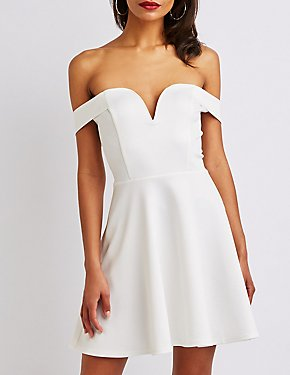 Off The Shoulder Skater Dress