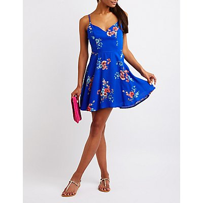 Floral Caged Skater Dress