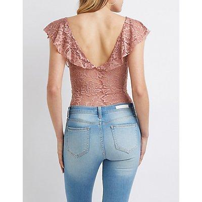 Floral Lace Ruffle Trim Bodysuit