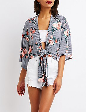 Floral & Striped Tie Front Top
