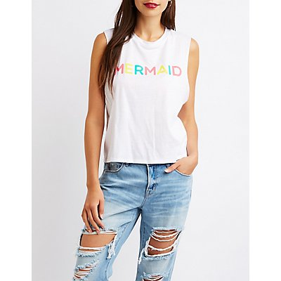 Mermaid Graphic Muscle Tee