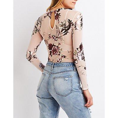 Metallic Floral Mesh Bodysuit