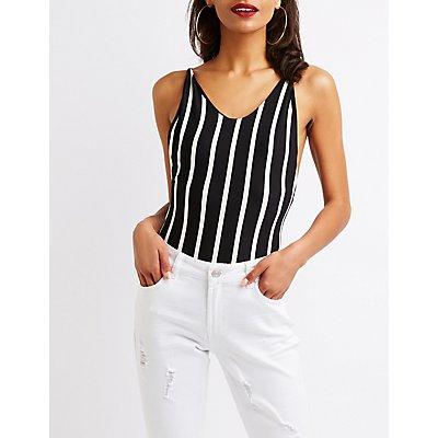 Striped Scoop Neck Bodysuit