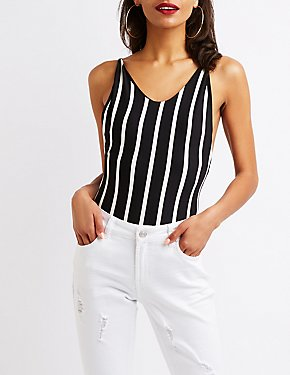 Striped Scoop Neck Bodysuit