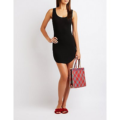 Ribbed Lattice Bodycon Dress