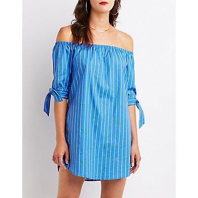 Striped Off The Shoulder Shift Dress