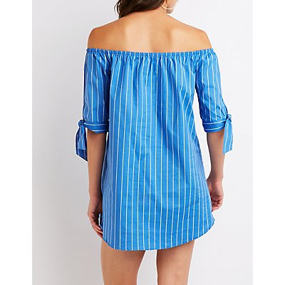 Striped Off The Shoulder Shift Dress