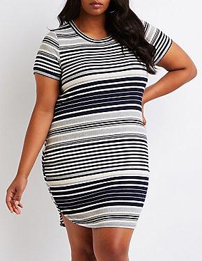 Plus Size Striped Ribbed Dress
