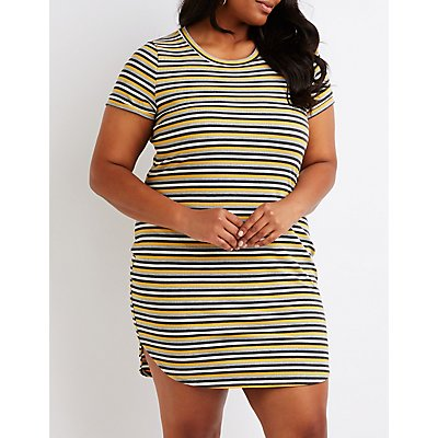 Plus Size Striped Ribbed Dress