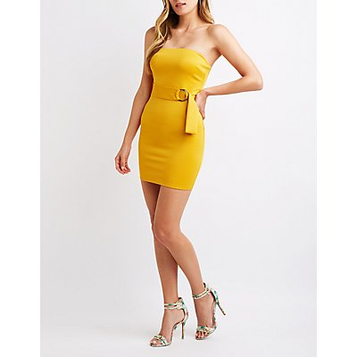 Strapless O-Ring Bodycon Dress