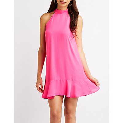 Ruffle Trim Shift Dress