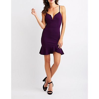 V-Notched Bodycon Dress