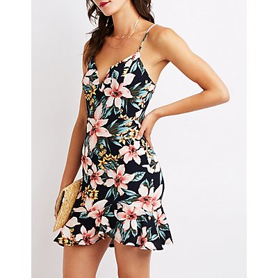 Floral V-Notched Bodycon Dress