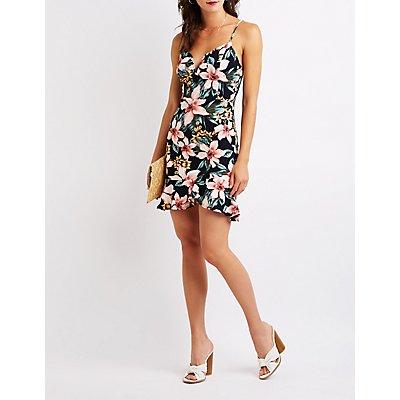 Floral V-Notched Bodycon Dress