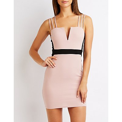 Wired Notched Bodycon Dress