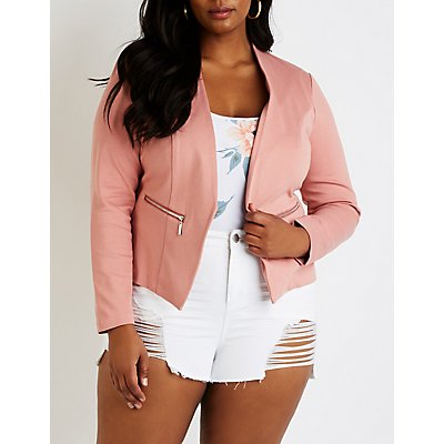 Plus Size Collarless Cropped Blazer