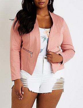 Plus Size Collarless Cropped Blazer