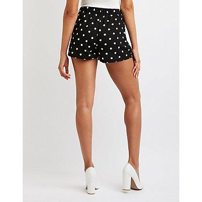 Polka Dot Tie Front Shorts
