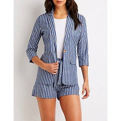 Striped Cuffed Blazer