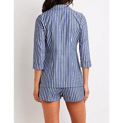 Striped Cuffed Blazer