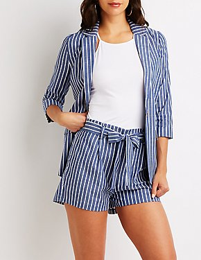 Striped Tie Front Shorts