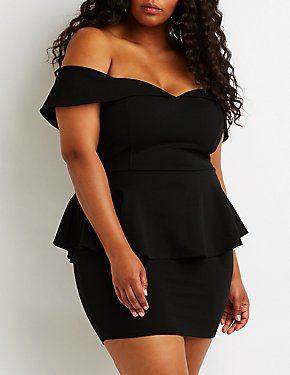 Plus Size Off The Shoulder Peplum Dress