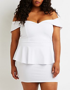 Plus Size Off The Shoulder Peplum Dress