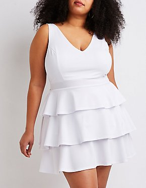 Plus Size Tiered Ruffle Skater Dress
