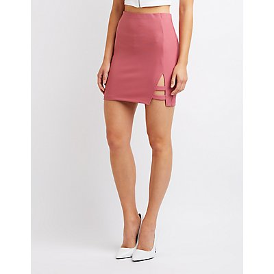 Caged A-Line Mini Skirt