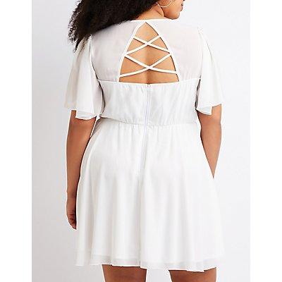 Plus Size Caged Back Skater Dress