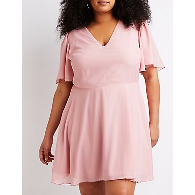 Plus Size Caged Back Skater Dress